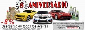 Celebramos el 8º Aniversario, ¡Cupón descuento 8% en aceite de motor!